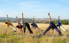 Yoga im Freien beim Schloß Belvedere in Weimar